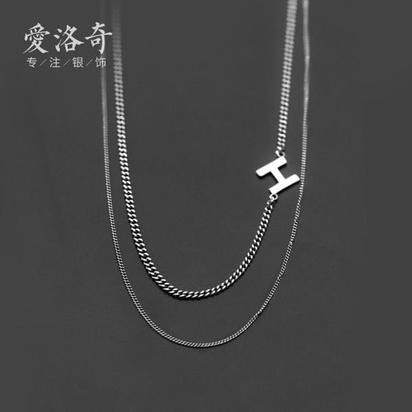 A31238 s925 sterling silver thai silver initialH doublelayer unique chic necklace