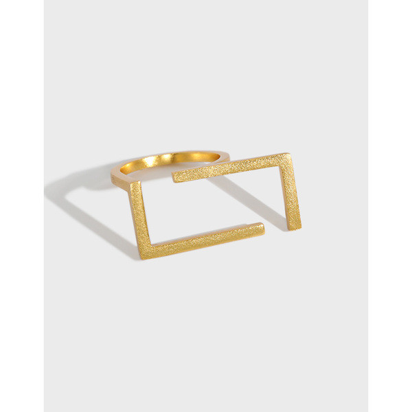 A31300 simple geometric square s925 sterling silver adjustable ring