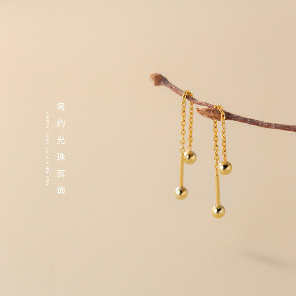A33921 s925 sterling silver string chic sweet trendy long chain earrings