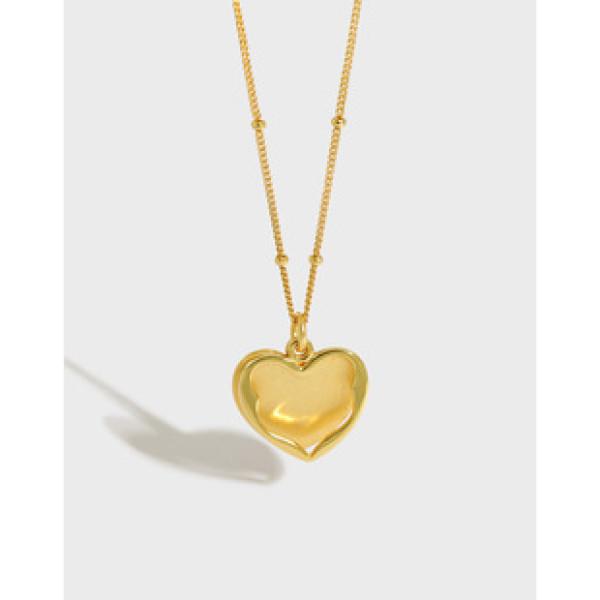 A31501 simple heart heartshape letter s925 sterling silver necklace