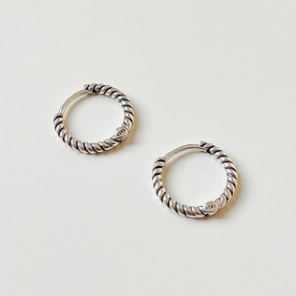 A32621 925 sterling silver twist braided minimalist small hoop earrings